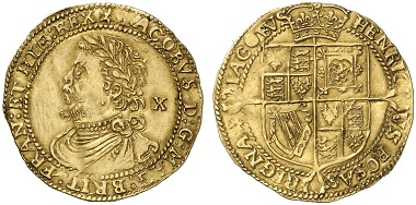 Jacob I, 1603-1625. 1/2 Laurel (= 10 Shillings) undated (1619-1620). From Künker 230 (2013), 6650.