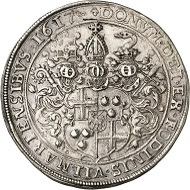 Lot 1583: Trier. Lothar von Metternich, 1599-1623. Reichstaler 1617, Coblenz. Yield from the Vilmar Mines. Extremely rare. Almost extremely fine. Estimate: 12,500 GBP. Hammer price: 17,000 GBP.
