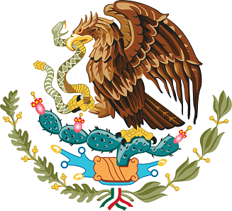 Coat of arms of Mexico. Eagle sitting on a cactus, growing on a rock emerging from a lake; the eagle is holding a squirming snake in its claws.