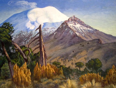 The volcano Popocatépetl with its elevation of 5,452 metres is in close vicinity to Mexico-City as you can see in the painting 'Vista del Popocatépetl' by Gerardo Murillo (Dr. Atl), 1934. Photo: Luisalvaz / CC-BY-SA 4.0.