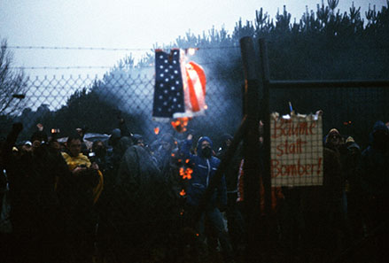German demonstrators burning an American flag in 1982. Source: Wikipedia.