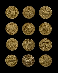 Set of 12 gold coins of Emperor Jahangir with signs of the Zodiac. From Agra, India, 1618-23. Photo: © Ashmolean Museum, University of Oxford.