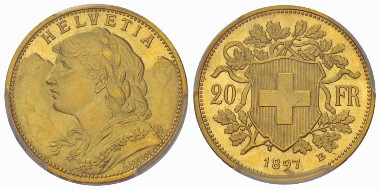 Officials deemed the stray curl on the young lady's forehead from the first test-mint of the new 20-francs coins too frivolous. From the auction Sincona 14 (2013), 3560 - One of these