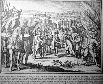 Rudolf II handing over his crown to Matthias, a view of Prague in the background.