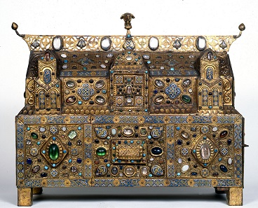 Chasse of Ambazac. From the Treasury of Grandmont. Limoges, ca. 1180-90. Gilded copper, champlevé enamel, rock crystal, semiprecious stones, faience, and glass. H. 23 1/8 in. (58.6 cm), W. 31 1/8 in. (79 cm), D. 101/4 in. (26.2 cm). Mairie d'Ambazac. Image: © Region Aquitaine-Limousin-Poitou-Charentes, Service de l'Inventaire et du Patrimoine Culturel (photograph by Philippe Rivière, 1993).