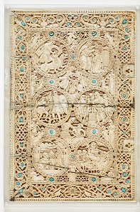 121. Upper cover of The Psalter of Melisende, Queen of Jerusalem. Jerusalem, Scriptorium of the Holy Sepulchre, ca. 1135. Ivory with semiprecious stones and silk-embroidered spine. 81/2 °- 51/2 in. (21.6 °- 14 cm). British Library, London. Image: © The British Library Board.