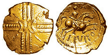 Gold stater of Anarevitos. The letters EPPI on the obverse refer to Eppillus 'little horse', who was probably the father of Anarevitos.