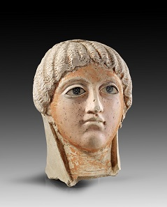 Lot 471: Mummy portrait. Roman Imperial times, 2nd-3rd cent. AD. H ca. 26 cm. Plaster stucco, painted. From A. Bade Collection, Bavaria. Estimate: 5,000,- euros. Hammer price: 12,500,- euros.