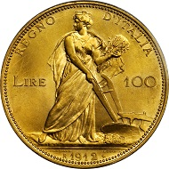 3070: Italy. 100 Lire, 1912-R. PCGS MS-65 Secure Holder. Relized: 25,850 USD.