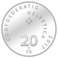 The new commemorative coin: CHF 20 / 0.835 silver / 20 g / 33 mm / mintage: uncirculated 30,000 (2,000 of them in an attractive folder), proof 5,000.