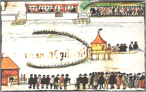 Felix Manz is drowned in the Limmat River. Image from the beginning of the 17th century.
