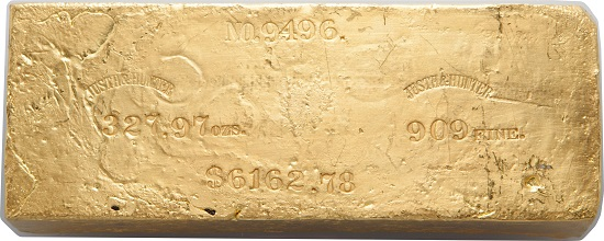 Justh & Hunter Gold Ingot. 327.97 Ounces.