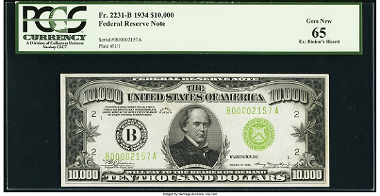 Fr. 2231-B $10,000 1934 Federal Reserve Note. PCGS Gem New 65.