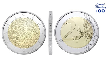 Independent Finland 100 Years special two-euro coin.