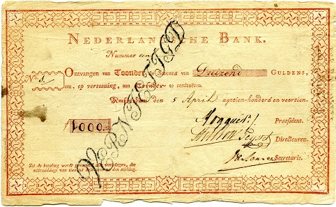 A 'roodborstje' (a robin), nickname for the first banknote in the Netherlands. Photo: ©NNC.