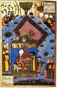 Suleiman the Magnificent passes the crown of Hungary to John Szapolyai. Contemporary Turkish miniature.