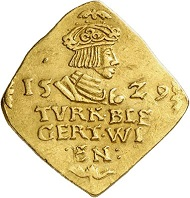 Ferdinand I. Siege coin of 1 ducat 1529. From Künker sale 289 (March 14, 2017), No 1536.