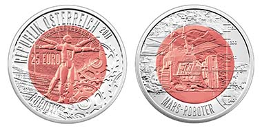 Austria - 25 Euro - 9 g 900 Ar and 6.5 g Niob - 34 mm - 65.000 - Designer: H. Andexlinger / Th. Pesendorfer - date of issue: March 16, 2011 - Austrian Mint. Photo: Austrian Mint.