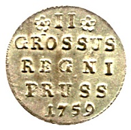 2 groeschers 1759, Koenigsberg. From Auction Tempelhofer Münzenhaus, Berlin, on April 6, 2017.