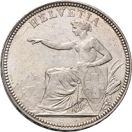 The rarest coin of the Swiss Confederation: 5 Francs 1886. Due to its date, this 5 Francs of 1886 is, today, the most precious Swiss coin in existence, that has been struck since the foundation of the Swiss Confederation. Photo: © Rapp.