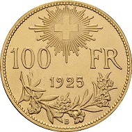 Swiss Confederation. 100 Francs. 1925. Photo: © Chaponnière et Firmenich SA.