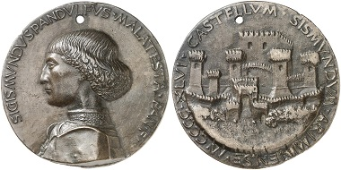 Sigismundo Malatesta. Bronze medal 1446. On the reverse: view of fortified Rimini. From Künker sale 282 (2016), No. 4478.
