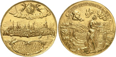 Schaffhausen. Gold medal of 20 ducats no date (second half of the 17th century). On the obverse, you can see a panorama of the city as seen from the right Rhine riverbank. At the very right, the fortress Munot. From Künker sale 285 (2017), No. 135.