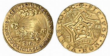 Saint Andre / Gelderland / Netherlands. Gold jeton around 1600. On the reverse: ideal fortification. From Baums Collection, Künker sale 116 (2006), No. 4229.
