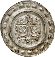 Lot 3026: Ulm. Friedrich II, 1212-1250. Bracteate around 1245-1250. Extremely rare. Extremely fine to FDC. Estimate: 2,000,- euros. Hammer price: 5,500,- euros.