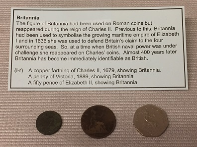 An example of the many links made between the ancient and modern periods using coinage, in this case the depiction of Britannia. Photo: Henry Flynn.