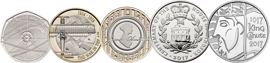 The second from the right is the new Centenary of The House of Windsor coin: Great Britain / 5 GBP / Cupro-Nickel / 28.28g / 38.61mm / Design: Jody Clark (obverse), Timothy Noad (reverse).