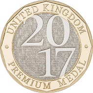 Nickel plated steel inner/ Brass plated steel outer / 11.80g / 28.50mm / Design: Thomas T. Docherty (obverse), The Royal Mint Emblem (reverse). Mintage: 7,500.