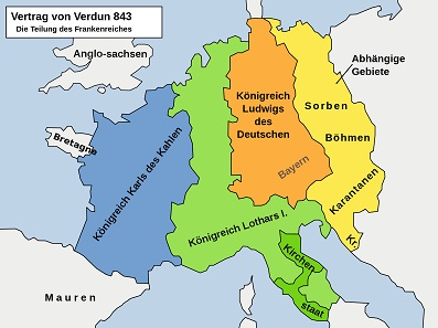 The division of the Carolingian Empire in the Treaty of Verdun. Source: Christoph S., Wolpertinger / CC BY-SA 3.0
