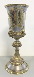 Partially gilded shooting cup of the Cantonal Shooting Festival in Solothurn in 1882.