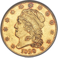 1828/7 Capped Head Left Half Eagle, MS63 NGC.