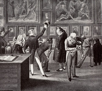 Pedell Scholer explains objects to visitors at the official Basel art collection on the foyer of the des Haus zur Mücke. Copper engraving 1837. Source: Wikipedia.
