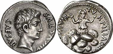 Augustus, 27 B. C. - A. D. 14. Denarius, 19 B. C., Rome. Mint master P. Petronius Turpilianus. Rev. TVRPILIANVS III VIR Tarpeia buried under a heap of shields. RIC 299. From auction Giessener Münzhandlung 180 (2009), 347.