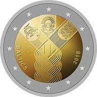 "2 euro commemorative coin of the Baltic States: the Baltic ""sisters"" with plaited hair, designed by Justas Petrulis."