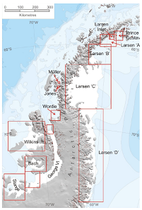 The ice shelves of the Antarctic peninsula, including the different Larsen sectors. Photo: A. J. Cook and D. G. Vaughan / Wikimedia Commons / CC BY 3.0