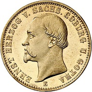 Lot 4170: German Empire. Saxe-Coburg-Gotha. Ernst II, 1844-1893. 20 marks 1872. The rarest of all gold coin types of the German Empire, in a fine grade. Almost FDC. Estimate: 75,000 euros. Hammer price: 116,000 euros.