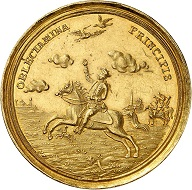 Lot 2715: Brandenburg-Ansbach. Carl Wilhelm Friedrich, 1729-1757. Gold strike of 12 ducats of the 2nd falkentaler. Unedited in this weight in gold. Extremely rare. Extremely fine. Estimate: 25,000 euros. Hammer price: 80,000 euros.