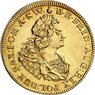 Lot 3153: Saxony, Albertine Line. Friedrich August I, 1694-1733. 5 ducats 1714, Gold strike of the 1/2 taler. Unedited! Extremely fine. Estimate: 30,000 euros. Hammer price: 68,000 euros.