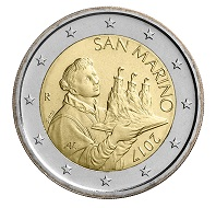 San Marino's new 2 euro and 1 euro coin.