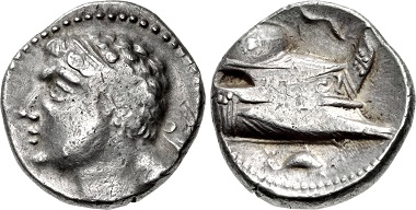 Punic Spain. Shekel, unknown Punic mint, c. 237-209. Male head with diadem (Hamilcar?), facing right. Rv. Prora facing right, dolphin below. From CNG auction sale, Triton XVIII (2015), No. 301.