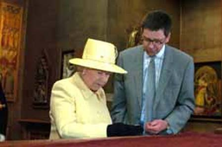 The Queen, here beside Mark Blackburn, has visited the Coin Cabinet, too. Image: Fitzwilliam.