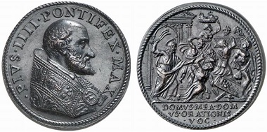 Pius IV (1559-1565). Medal. Rv. Jesus expels the traders from the temple. – This parable of the Counter-Reformation demands a return to a more simple church, in which offices and the accompanying benefices aren't the center of attention. From Heidelberger Münzhandlung Herbert Grün sale 48 (2007), 721.