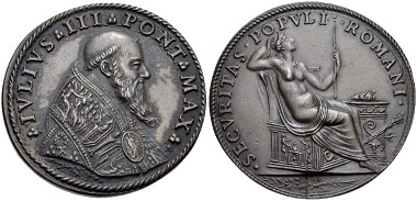 Julius III (1550-1555). Medal. From Classical Numismatic Group Electronic Auction 210 (2009), 370.