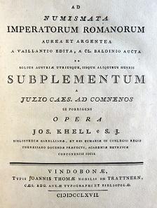Titlepage of Khell's 1767 supplement to Vaillant's work on Roman coinage. Photo: copyright Kunsthistorisches Museum, Vienna.