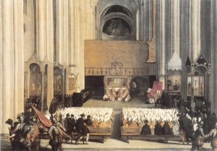 1563 meeting of the Council of Trent. Painting by Paolo Farinatis(?), 2nd half of the 16th cent. Source: Wikipedia.