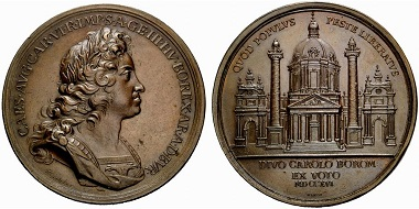 Charles VI, 1711-1740). Bronze medal 1716 by Richter and Waron on St. Charles Church, devoted to Charles Borromeo. Rv. View of the church. Based on his conduct, Charles Borromeo was considered a 'plague saint'. When the plague was raging in Vienna, Charles VI pledged to erect a church if the disease would come to an end. From Rauch sale 88 (2011), 830.